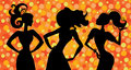 Glamour silhouette girls Royalty Free Stock Image