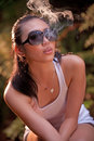 Glamour smoking girl 3 Royalty Free Stock Photo