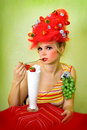 Glamour Strawberry girl Royalty Free Stock Photo