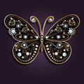 Glamour vector golden butterfly vintage with elegance ornament encrusted with blue jewels on dark purple background Stock Photo