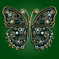 Glamour vector vintage golden butterfly with elegance ornament encrusted with blue jewels on dark green background with shadow Stock Image
