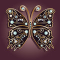 Glamour vector vintage golden butterfly with elegance ornament encrusted with blue jewels on purple background with shadow Stock Images