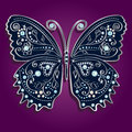 Glamour vector vintage silver butterfly with elega elegance ornament encrusted blue jewels on purple background shadow Royalty Free Stock Photography