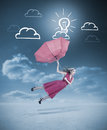 Glamour woman flying with a red umbrella under drawings of clouds and light bulb Stock Image