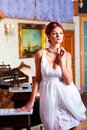 Glamour woman in vintage hall interior Royalty Free Stock Photos
