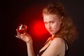 Glamour women with the whine on black background woman wine Stock Images