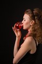 Glamour women with the whine on black background Royalty Free Stock Photo