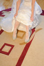 Glamourous bride in crystal wedding shoes Royalty Free Stock Photography