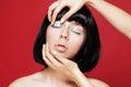 Glamourous closeup asian female portrait fashion eyeliner makeup on model eyes cosmetics and make up Stock Photos