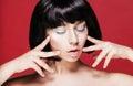 Glamourous closeup female portrait fashion asian eyeliner makeup on model eyes cosmetics and make up Stock Images