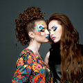 Glamourous ladies two sensual young women with artistic make up Stock Photography