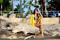 Glamourous portrait of young beautiful woman posing near the bea beach Royalty Free Stock Photos