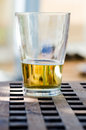 Glas of beer on table outside Royalty Free Stock Photos