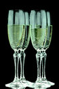 Glas of champagne glasses with in black background Stock Image