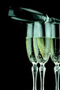 Glas of champagne glasses with in black background Stock Photo