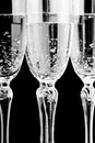 Glas of champagne glasses with in black and white Stock Photography