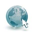 Glasblau und cursor der kugelerdkarte d mit internet address Lizenzfreies Stockbild