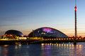 Glasgow science centre the at dusk on august th in scotland uk Stock Image