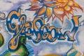 Glasgow uk june street art in glasgow west end near byres road written graffiti style Stock Images