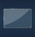 Glasplatte auf blauem aluminiumtechnologiehintergrund Stockbilder