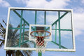 Glass backboard with a palm tree on an outdoor basketball court in cotacachi ecuador Royalty Free Stock Photos