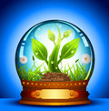 Glass ball vector illustration of spring landscape and Stock Photo