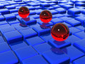 Glass balls on cubes Stock Photos
