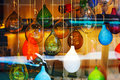 Glass balls marbles abstract colored mix in the shopwindow Royalty Free Stock Photo