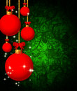 Glass balls over christmas abstract background Royalty Free Stock Photo