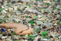 Glass beach, colorful polished sea glass, ceramics and stones Royalty Free Stock Photo