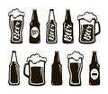 Glass of beer, ale, lager. Mug, bottle set of icons. Oktoberfest, restaurant, pub, bar symbol. Vector illustration