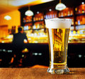 Glass of beer in a bar Stock Images