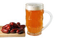 Glass of beer with Bavarian sausages Royalty Free Stock Photo