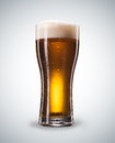 Glass of beer with froth close up with clipping path Royalty Free Stock Image