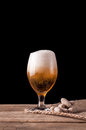 Glass of beer and peanuts Royalty Free Stock Photo
