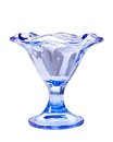 Glass blue ice-cream bowl Royalty Free Stock Photo