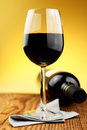 Glass and bottle of fine italian red wine Royalty Free Stock Images