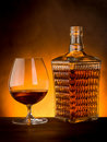 Glass and  bottle of liquor Royalty Free Stock Photo