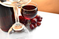 Glass bottle red wine grapes empty glass Stock Image