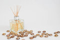 Glass bottle scented oil reeds gold beads scattered Stock Photo