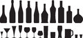 Glass and bottle wine silhouettes set Royalty Free Stock Image