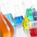 Glass Bottles in Lab with colored liquid-2 Royalty Free Stock Photography