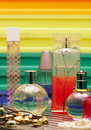 Glass bottles with perfumery. Royalty Free Stock Photo