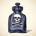 Glass bottles of poison. Vector drawing
