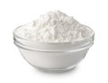 Glass bowl of corn starch Royalty Free Stock Photo