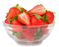 Glass bowl with fresh strawberries isolated on white background Stock Image