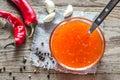 Glass bowl of thai sweet chili sauce Royalty Free Stock Photo