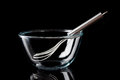 Glass bowl with whisker inside on black from side transparent metal background Royalty Free Stock Photo