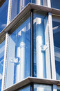 Glass building facilities water tube placed in the corner of a modern Royalty Free Stock Images