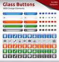 Glass buttons web design elements color variations Stock Images